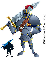Knight - Cartoon knight. Silhouette version included. No...