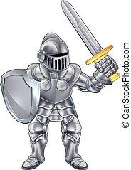 Knight Cartoon Mascot - Knight cartoon character in his suit...