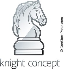 An illustration of a knight horse chess piece icon