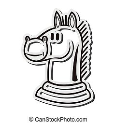 knight chess piece icon - flat design knight chess piece...