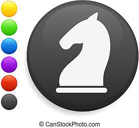knight chess piece icon on round internet button original...