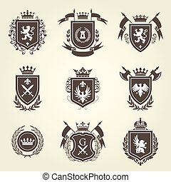 Knight coat of arms and heraldic shield blazon