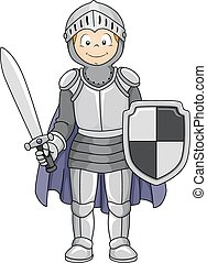 Knight Costume - Illustration Featuring a Boy Wearing a...