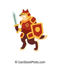 Knight dog character in full armor with shield and sword vector Illustration on a white background
