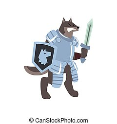 Knight dog character with shield and sword vector Illustration on a white background