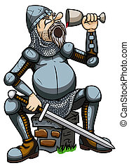 Knight drinking from a goblet - Illustration a cartoon tired...