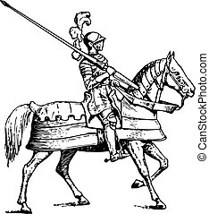 Knight riding horse on white background
