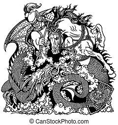 knight fighting a dragon black white