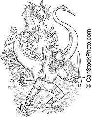 knight-fighting-dragon-covid-19-dwg