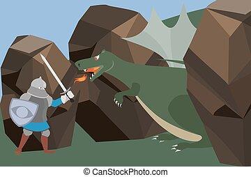 knight fighting the dragon vector cartoon