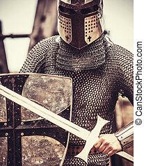 knight., foto, in, ouderwetse , stijl