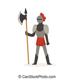 Knight full body armor suit standing with axe, European medieval character colorful vector Illustration