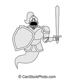 Knight Ghost isolated. Metal armor warrior. Iron armor.  Vector illustration