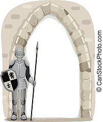 Knight Guard Frame - Frame Illustration of a Knight Guarding...