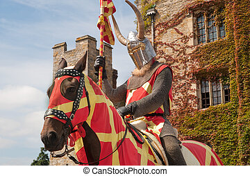 Hever castle guarded by knight in armor