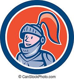 Knight Head Armor Circle Cartoon