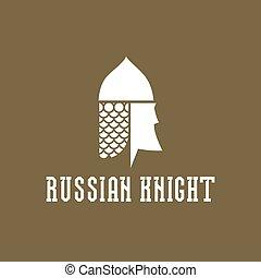 Knight head, helmet with chain mail armor, vector illustration face