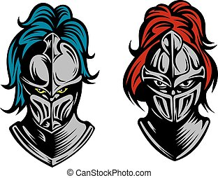 Knight heads in medieval armour