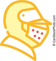 knight helmet color icon vector flat illustration
