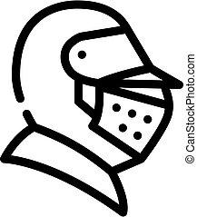 knight helmet line icon vector black illustration