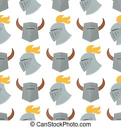 Knight helmet medieval weapons heraldic knighthood protection medieval kingdom gear knightly seamless pattern background vector illustration.