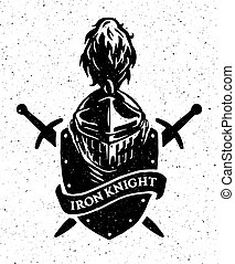 Knight helmet on a background of the shield and swords.