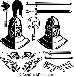 Knight helmets, swords, axes. Design elements for logo, label, emblem, sign. Vector illustration