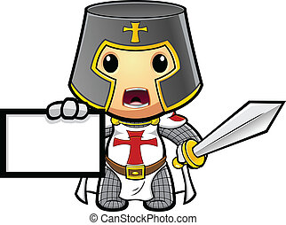 Knight Holding Up Card