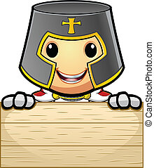 Knight Holding Wooden Board
