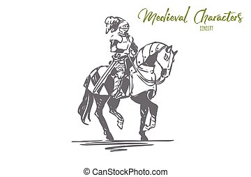 Knight, horse, medieval, character, armor concept. Hand drawn isolated vector.