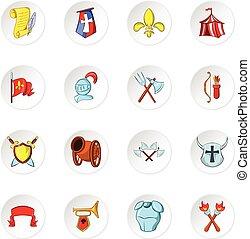 Knight icons, cartoon style
