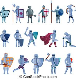 Knight icons set, cartoon style