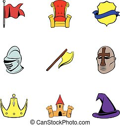 Knight icons set, cartoon style