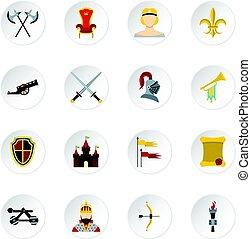 Knight icons set, flat style