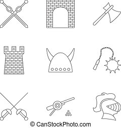 Knight icons set, outline style