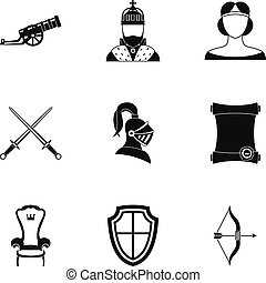 Knight icons set, simple style