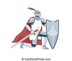 Knight in armor and red cloak holding shield and sword and giving oath on his knee. Medieval warrior kneeling and swearing allegiance. Chivalry isolated on white background. Flat vector illustration.