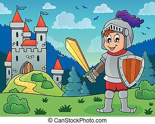 Knight in armor near castle