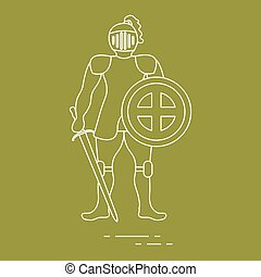 Knight in armor with shield and sword.
