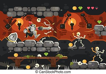 Knight in armor with sword in dungeon. Game interface with...
