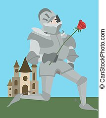 knight in armour with red rose vector romantic cartoon