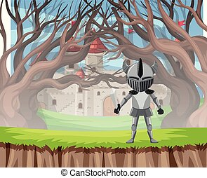 Knight in armour wood scene