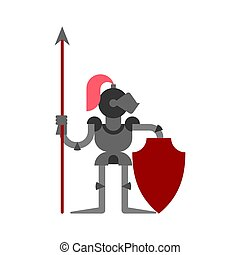 Knight isolated. Armor warrior. Medieval soldier Vector illustration