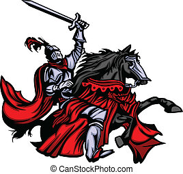 Knight with armour riding a horse and raising sword