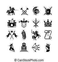 Knight medieval history vector icons set. Middle ages...