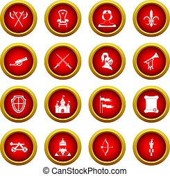 Knight medieval icon red circle set