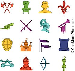 Knight medieval icons doodle set