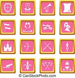 Knight medieval icons pink