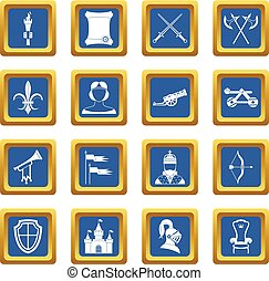 Knight medieval icons set blue