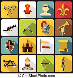 Knight medieval icons set, flat style